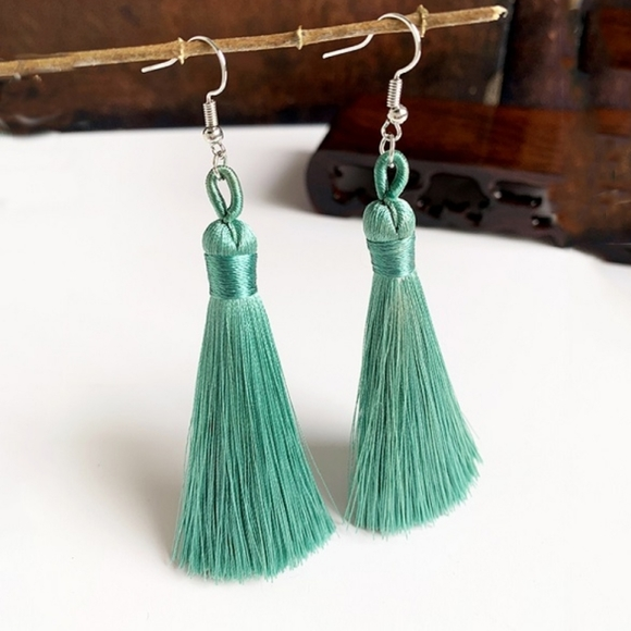 Mint green tassel fashion earrings